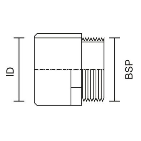 male adaptor diagram drawing showing the relative diameters